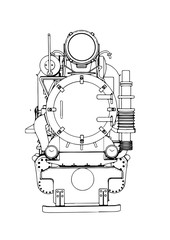 outline of a locomotive vector.