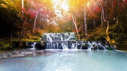 Landscape photo,Namtok Sam Lan Waterfall , beautiful waterfall in Thailand