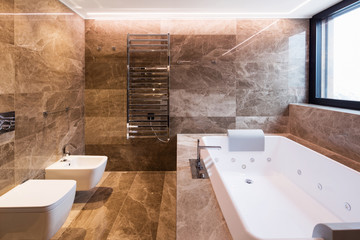 Luxurious marble bathroom with hydromassage