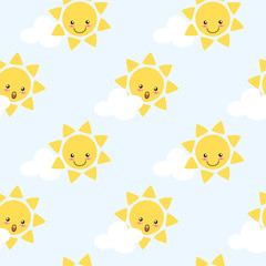 Cute cartoon sun seamless pattern vector background. Lovely cartoon character on cloud and blue sky background. Cute cartoon for children fashion, nursery, scrapbooking, textile and decoration.