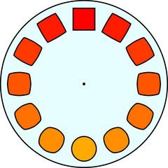Phenakistiscope animation optical victorian toy, Blue circle with yellow circles and red squares, Decorative pattern, Magic wheel, modern Phenakistoscope