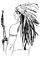 The Indian, fantasy artistic portrait of native north-american young man, in traditional head dress made of feathers. Vector hand drawn illustration in black lines, isolated on white background