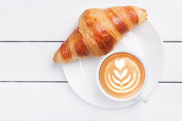 coffee croissant view from above wooden background white