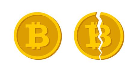 Bitcoin symbol in flat design. Coin symbol Electronic currency. Vector broken bitcoin. Bitcoin fallen.