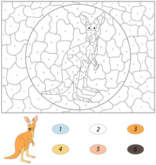 Cartoon kangaroo. Color by number educational game for kids