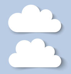 White Clouds Paper Banners. Vector illustration