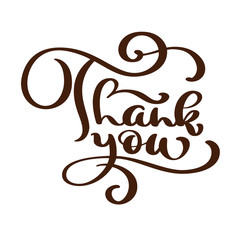 Thank You text handwritten inscription. Hand drawn lettering. Thank You calligraphy. Thank you card. Vector illustration