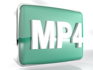 MP4 blue box icon - 3D rendering