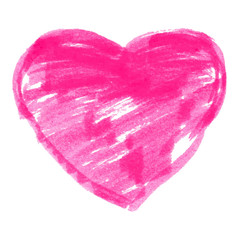 Pink Felt Pen Heart. Vector illustration