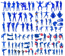 Man in blue costume in various poses