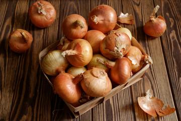 Onions in basket on dark wooden background.