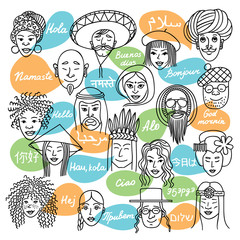 """Face_nationalyti/People of different nationalities. People speak different languages """"hi""""."""