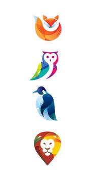 Logo_animals_color/Fox, owl, penguin, lion color logo.