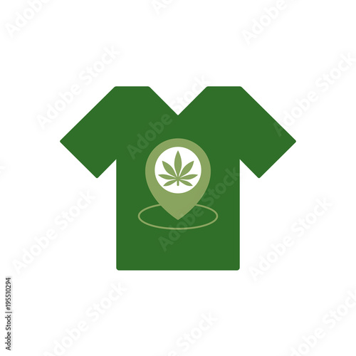 T Shirt With Marijuana Leaf Store Location Icon Map Pointer T