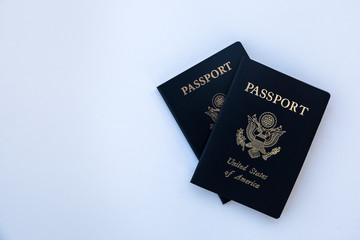 USA passports on solid background