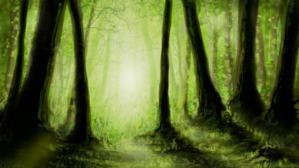 Forest digital painting