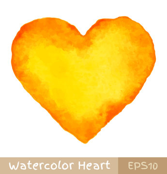 Yellow - Orange Watercolor Heart. Vector illustration