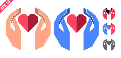 hands holding the heart (logo, emblem, symbol, sign) in geometric style and two colors