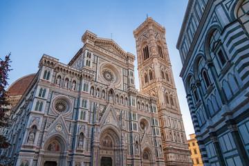 Cathedral of Santa Maria del Fiore and Campanile di Giotto on Piazza del Duomo at morning.
