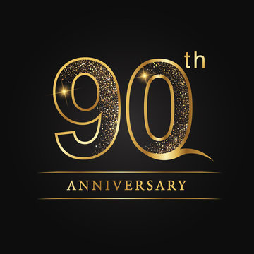 90th years anniversary, ninety, 90th anniversary, three number, 3rd, 3, light, luxury, glitter texture, glitter, event, party, age, happy, holiday, element, line, icon, font, text, success, star numbe
