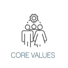 Core Values Outline Icon w person and collaborating / thinking ideas