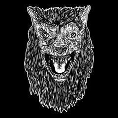 Head of roaring wolf or werewolf. T-shirt print Halloween concept. Blackwork adult tattoo flash line style Vector.