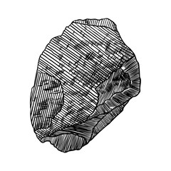Rock stone. Black and white stone or rock in hand drawn hatching, wood carve style. Boulder. Vector.