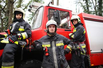 Firemen wearing uniforms