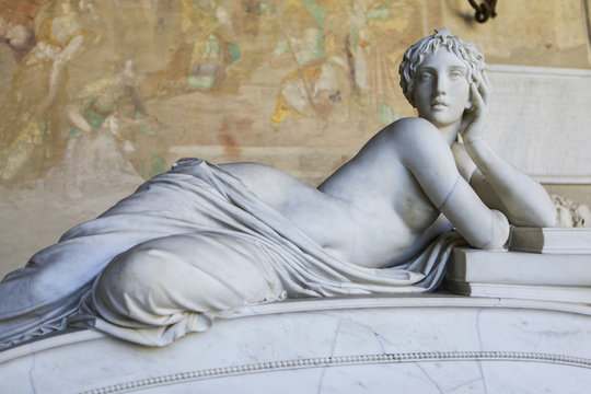 Sculpture of a beautiful naked woman in a greek style