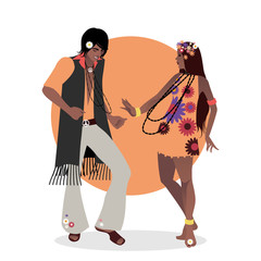Young couple wearing hippie clothes of the 60s and 70s dancing