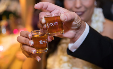 Bride and Groom Shot Glasses with Whiskey