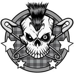 Punk Skull Illustration - A vector cartoon illustration of a Punk Skull icon concept.