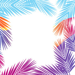 Bright colors palm leaves border background. Flat style.