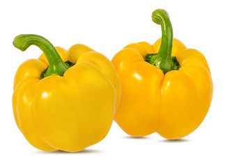 Yellow peppers  isolated.  With clipping path.