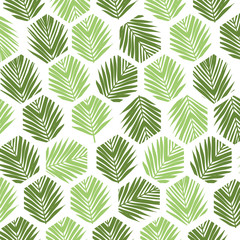 Palm leaves polygon pattern background. Flat style.