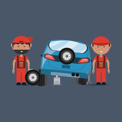 Car service design with mechanics fixing a car over blue background, colorful design vector illustration