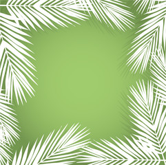 Palm leave border. Flat style. green and white.