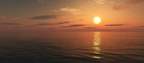 Beautiful sea sunset, sunrise in the ocean 3D rendering