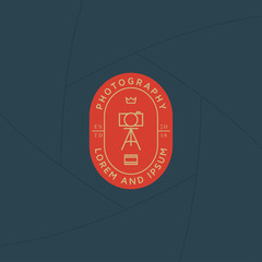 Photographer studio badge or label design, Logo for studio and photographer or videographer. Photography logo template
