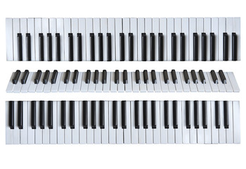 Music keys against the white isolated background.
