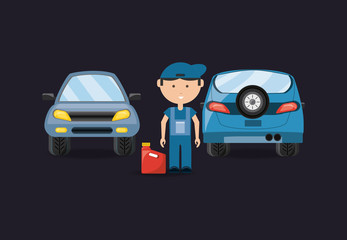 Car service design with cars and mechanic man with jerrycan  over black background, colorful design vector illustration