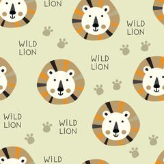 Seamless cute lion pattern