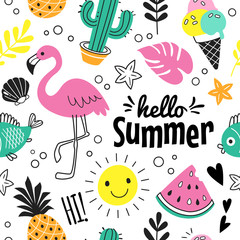 Hello Summer pattern. Vector seamless pattern with funny summer symbols, such as flamingo, ice cream, cactus, pineapple and watermelon in doodle style. Isolated  on white.