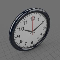 Black, plastic wall clock