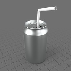 Open soda can with straw
