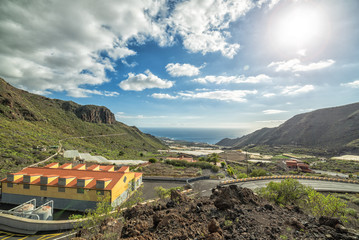 Tropical valley landscape with ocean view, Tenerife