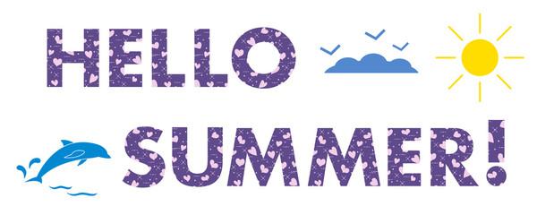 Hello summer. Sun, hearts, dolphin.