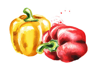 Red and yellow Bell peppers. Watercolor hand drawn illustration, isolated on white background