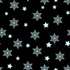 Winter Seamless Snowflake and star seamless Pattern. Vector EPS 10. snowflakes seamless