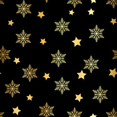 Winter Seamless gold Snowflake and gold star seamless Pattern. Vector EPS 10. snowflakes seamless